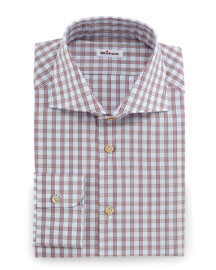 Check Woven Dress Shirt, Rust/Light Blue