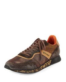 Mesh & Suede Trainer Sneaker, Orange/Brown