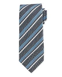 Multi-Striped Silk Tie, Aqua
