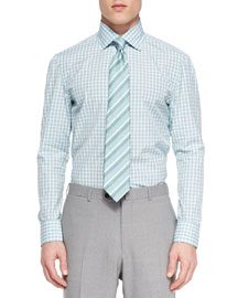 Rep Striped Silk Tie, Aqua