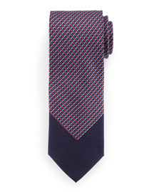 Colorblock 3D Grid-Box Tie, Red