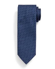 Grid-Box Pattern Tie, Blue/Navy