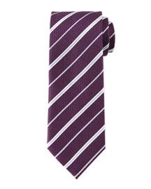 Striped Honeycomb-Pattern Tie, Plum/Lilac