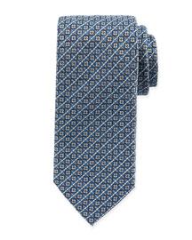 Checkerboard Silk Tie, Aqua