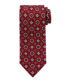 Large Medallion-Print Silk Tie, Red
