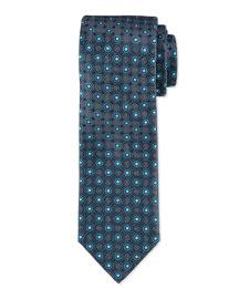 Octagon Medallion Neat Tie, Teal