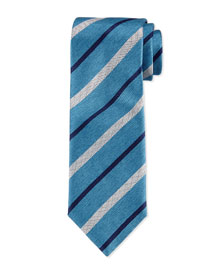 Chambray Striped Silk Tie, Teal