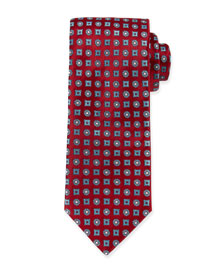 Circle & Square Medallion Silk Tie, Red