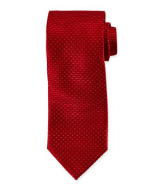 Dotted Stairstep Silk Tie, Red