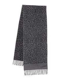 Printed Cashmere Scarf, Gray