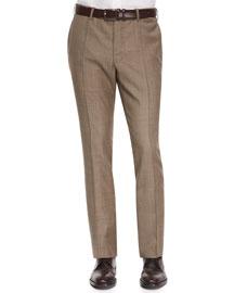 Benson Sharkskin Wool Trousers, Taupe