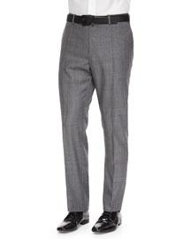 Benson Sharkskin Wool Trousers, Light Gray