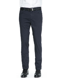 Washed 5-Pocket Cotton Stretch Pants, Navy