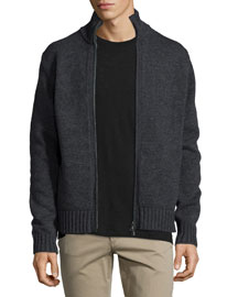Full-Zip Wool/Cashmere Cardigan, Black