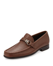Calfskin Side Gancio Loafer, Brown