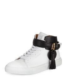 100mm Tassel Leather High-Top Sneaker, White