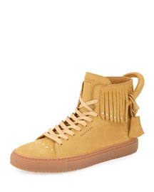 125mm Leather High-Top Sneaker with Fringe