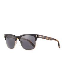 Shiny Metal Half-Rim Polarized Sunglasses, Black/Smoke