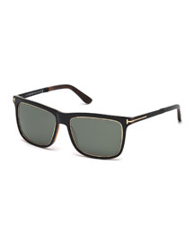 Shiny Metal Sunglasses, Black/Havana