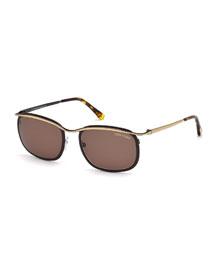 Shiny Metal Sunglasses, Rose Gold/Black