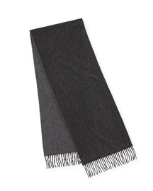 Reversible Cashmere Scarf w/Fringe, Charcoal