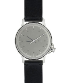 M12 Stainless Steel Watch with Leather Strap, Black