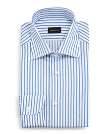 Bold Striped Dress Shirt, Blue