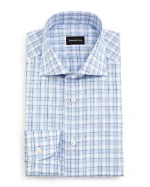 Textured Box Check Dress Shirt, Blue
