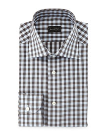 Large Gingham Woven Dress Shirt, Light Blue/Charcoal