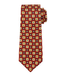 Small Medallion-Print Silk Tie, Brown/Yellow