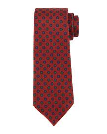Micro-Flower Neat Silk Tie, Rust