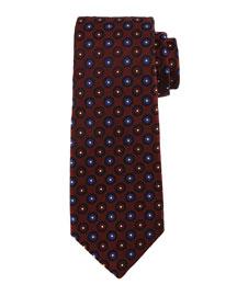 Circle-on-Circle Silk Tie, Burgundy/Blue