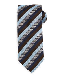 Textured Stripe Tie, Brown