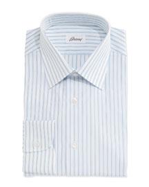 Satin-Stripe Woven Dress Shirt, White/Blue