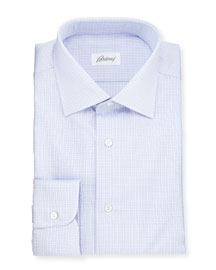 Soft Plaid Woven Dress Shirt, Blue/Lavender