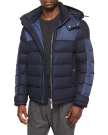 Severac Wool-Blend Coat with Nylon Inserts, Navy