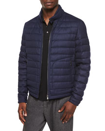 Delabost Quilted Bomber Jacket, Blue