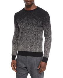 Herringbone Degrade Crewneck Sweater, Black