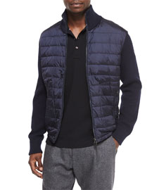 Mixed Media Quilted Jacket, Navy