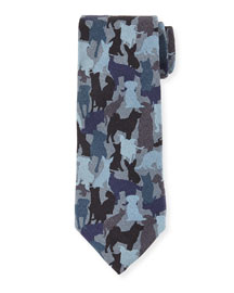 Silk Dog Camo-Print Tie, Blue Multi