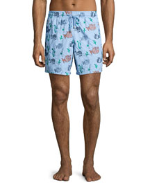 Mistral Moonfish-Print Swim Trunks, Blue