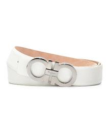 Double-Gancini Leather Belt, White