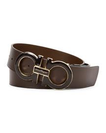Extra-Large Gancini Buckle Belt, Brown