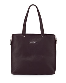 Leather Open-Top Shopper Bag, Brown