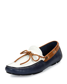 Tricolor Leather Boat Shoe Driver