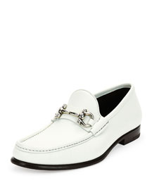 Mason Leather Gancini Bit Loafer, White