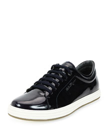 Newport Patent Leather Low-Top Sneaker, Navy
