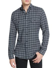 Mini-Plaid Tailored-Fit Sport Shirt, Black/Gray