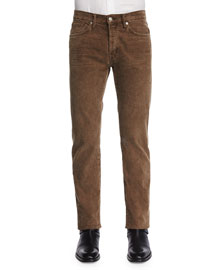 Regular-Fit Fawn-Corded Five-Pocket Pants, Brown
