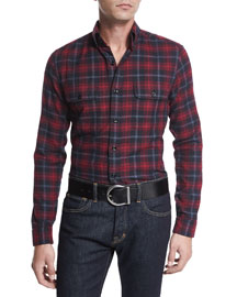 Medium-Check Tailored-Fit Sport Shirt, Black/Raspberry